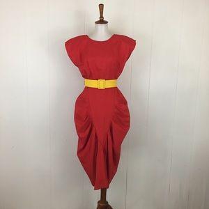 Vintage Short Sleeve Pleated Sheath Dress